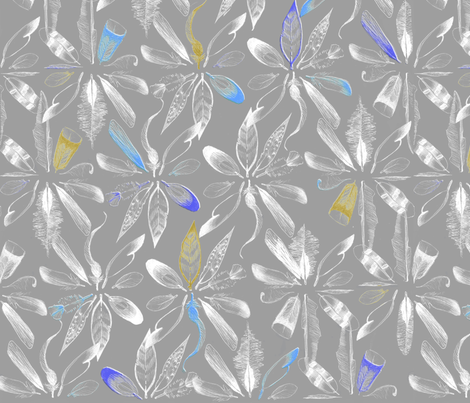 sketchy Feathers in circels/ornamental ; grey pastel and blue fabric by lofi on Spoonflower - custom fabric