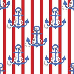 Anchors Aweigh! on red stripes