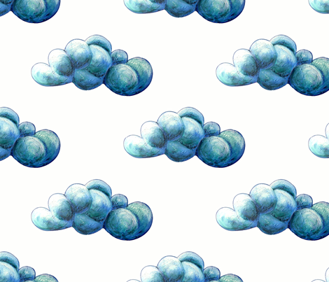 Clouds on White (big version) fabric by timone on Spoonflower - custom fabric