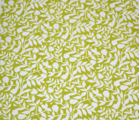 White Vine Silhouette on Olive Green