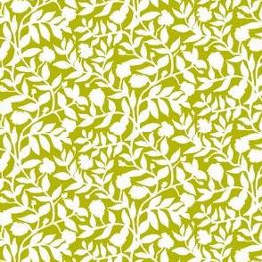 White Vine Silhouette on Olive Green