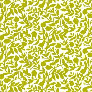 Olive Green Vine Silhouette on White