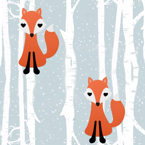 Fox Birch snow fabric by parisbebe on Spoonflower - custom fabric