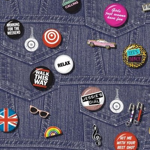 '80s Rock & Roll Flair* || buttons pins pinbacks music retro denim rock and roll band typography words fashion friendship punk emo
