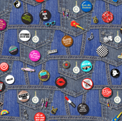 '80s Rock & Roll Flair || buttons pins pinbacks music retro denim rock and roll band typography words fashion friendship punk emo