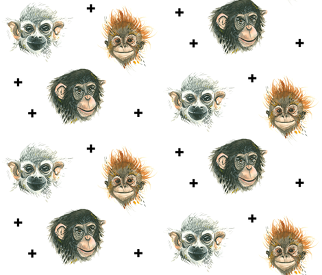 Happy Apes (Smaller Scale) fabric by taraput on Spoonflower - custom fabric