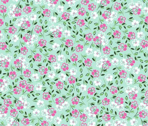 julie_lamb_ditsy_floral_mint fabric by julielamb on Spoonflower - custom fabric