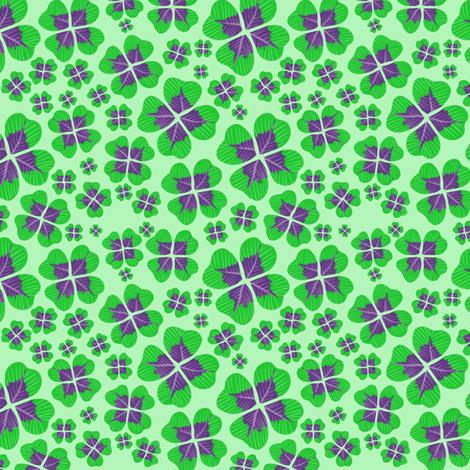 Purple Clovers on Green fabric by blancamonroe on Spoonflower - custom fabric