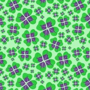 Purple Clovers on Green