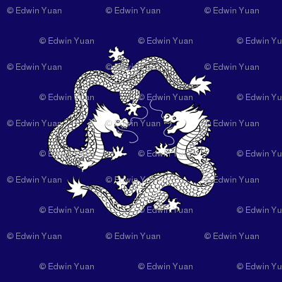 Double_Dragon_White_on_Blue_Fabric