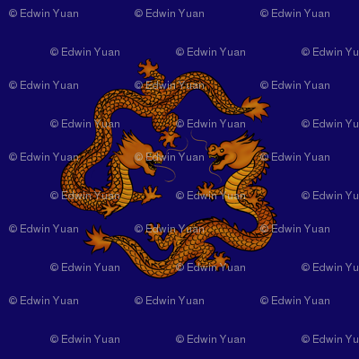 Double_Dragon_Gold_on_Blue_Fabric