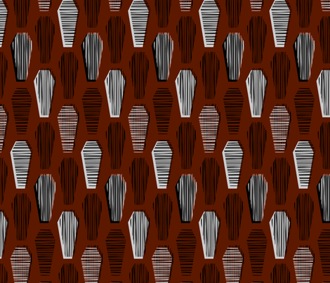 Lined Coffins - blood fabric by thecalvarium on Spoonflower - custom fabric