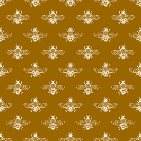 White Bee on Toffee fabric by thistleandfox on Spoonflower - custom fabric