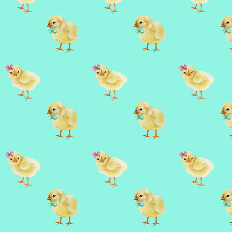 Chicks in Bows and Bowties, Easter Chicks on Bright Mint fabric by thistleandfox on Spoonflower - custom fabric