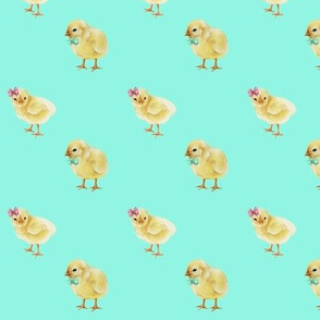 Chicks in Bows and Bowties, Easter Chicks on Bright Mint