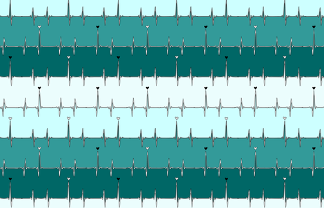 heartbeat in turquoise stripes fabric by eleventy-five on Spoonflower - custom fabric