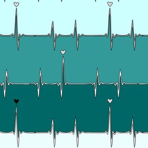heartbeat in turquoise stripes