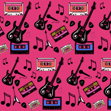 Rock Guitar  fabric by bruxamagica on Spoonflower - custom fabric