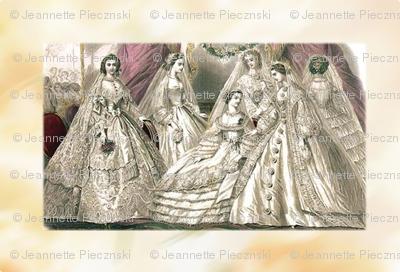 Godey's Ladies Fashion Plate Victorian Wedding Brides 1860s
