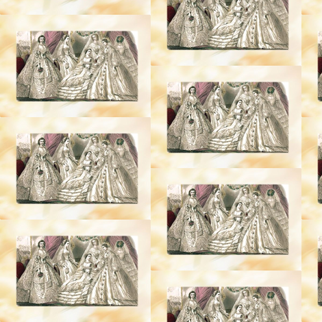 Godey's Ladies Fashion Plate Victorian Wedding Brides 1860s fabric by customheirlooms on Spoonflower - custom fabric
