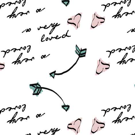So Very Loved with hearts and arrows fabric by averielaneboutique on Spoonflower - custom fabric