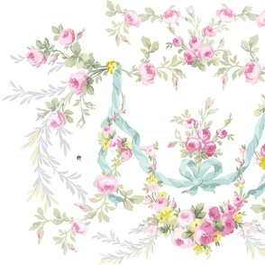 Rococo Rose Swag in Easter colors