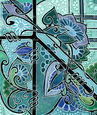 Stained Glass Sunflower Blues