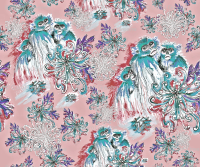 Monkeys and Mums in Teal and Pink