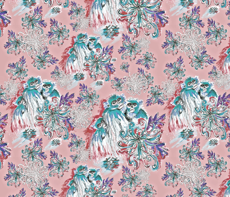 Monkeys and Mums in Teal and Pink fabric by greenedevine on Spoonflower - custom fabric