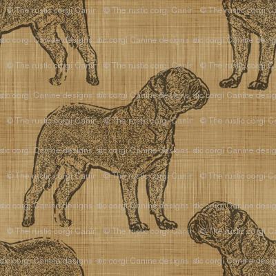 Dogue de Bordeaux stamp on linen - brown