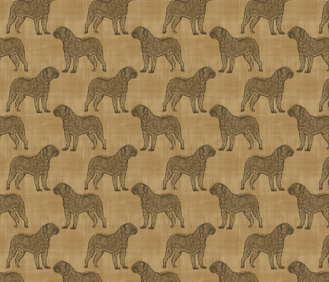 Dogue de Bordeaux stamp on linen - brown fabric by rusticcorgi on Spoonflower - custom fabric