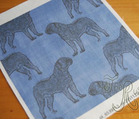 Dogue de Bordeaux stamp on linen - blue
