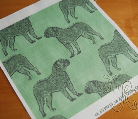 Dogue de Bordeaux stamp on linen - green