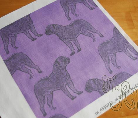 Dogue de Bordeaux stamp on linen - purple