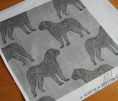 Dogue de Bordeaux stamp on linen - steel