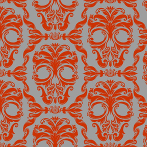 Scrollwork Skulls - red on gray