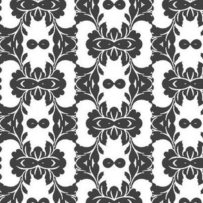 Floral Abstract in Dark Grey and White