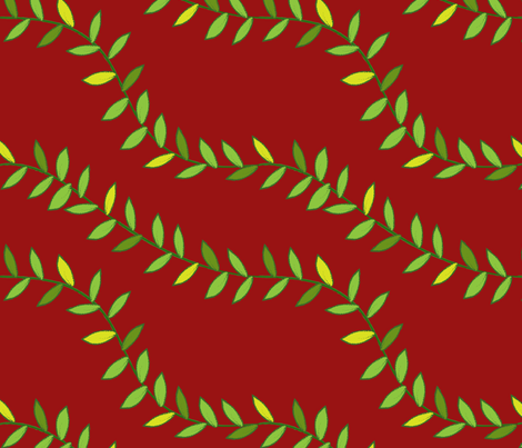 Jungle Vines for Monkey! (dark red) fabric by helen_bne on Spoonflower - custom fabric