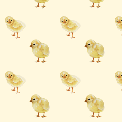Baby Chicks on Cream, Easter Spring fabric by thistleandfox on Spoonflower - custom fabric