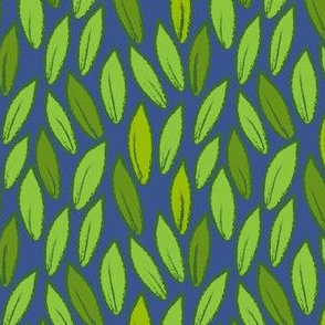 Leaves on blue