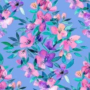 Diamond lattice watercolor floral - pink, purple, blue