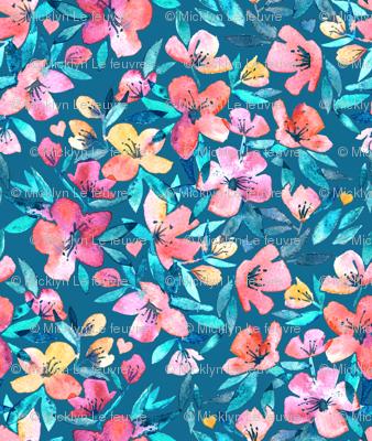 Teal Summer Floral in Watercolors
