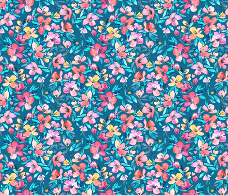 Teal Summer Floral in Watercolors fabric by micklyn on Spoonflower - custom fabric