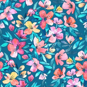 Teal Summer Floral in Watercolors