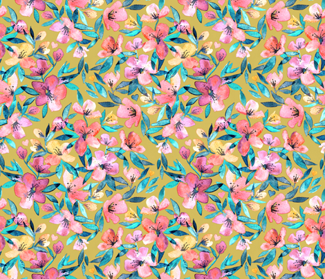 Watercolor Spring floral on mustard fabric by micklyn on Spoonflower - custom fabric