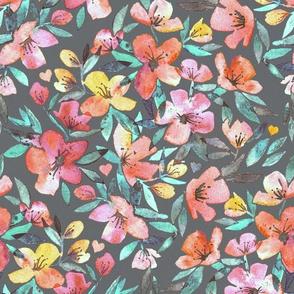 watercolor spring floral on dark grey