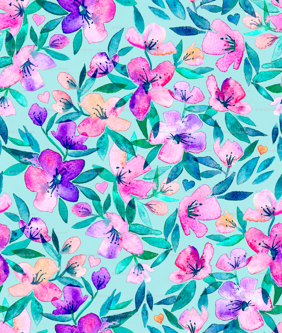 tiffany blue and purple spring floral - large wallpaper - micklyn