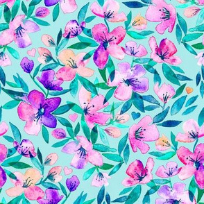 Tiffany blue and purple spring floral - large