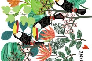 Toucan Love Tea Towel fabric by susan_polston on Spoonflower - custom fabric