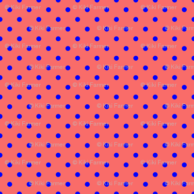 Royal Blue Polka Dots on Salmon